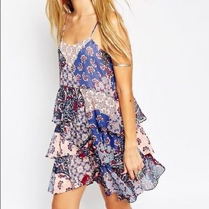 ASOS patchwork boho swing tiered dress 497